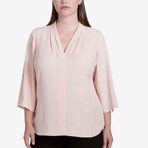 CALVIN KLEIN Pleated V-Neck Roll-Tap Sleeve Top